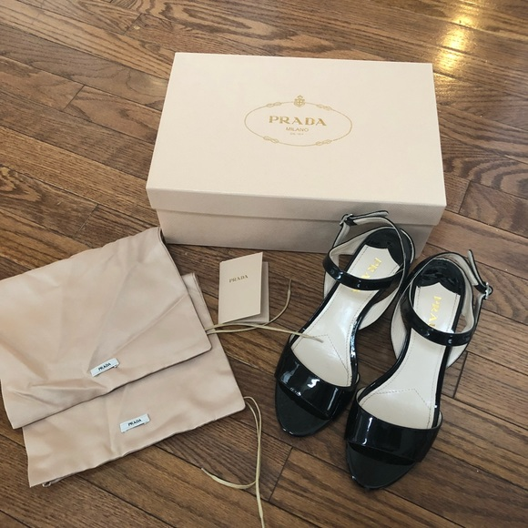024bd7c5e9bceb Prada Shoes | Milano Black Patent Leather Calzature Sandal | Poshmark